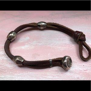Men's Leather & Sterling Bracelet